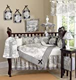 Sweet Jojo Designs Black French Toile Baby Boy or girls Unisex Bedding 9pc Crib Set