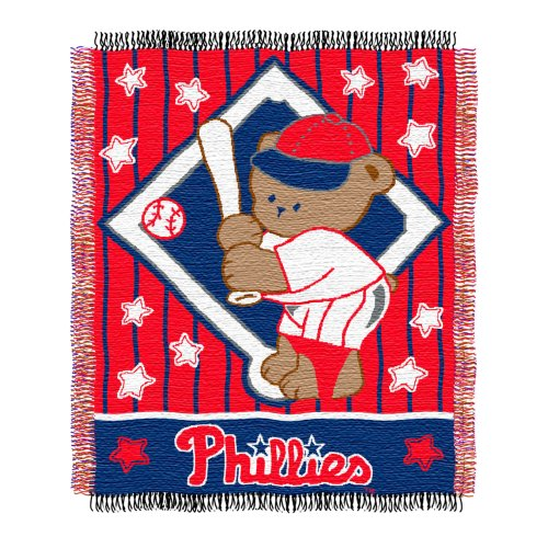MLB Philadelphia Phillies 36-Inch-by-46-Inch Woven Jacquard Baby Throw at Amazon.com