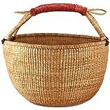 Bolga Market Tote / Storage Basket (Fair Trade-Ghana) w/ Leather Handle Natural
