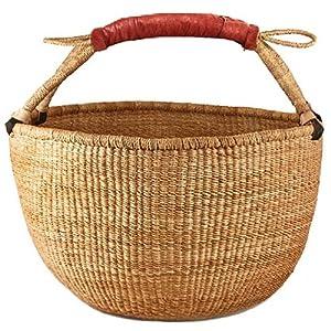 Amazon.com: Bolga Market Tote Basket (Fair Trade) Natural Color XLarge w/ Leather Wrapped Handle