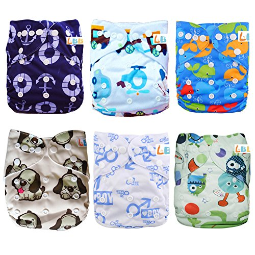 LBB(TM) Baby Resuable Washable Pocket Cloth Diaper With Adjustable Snap,6 pcs+ 6 inserts,(Boy Color)