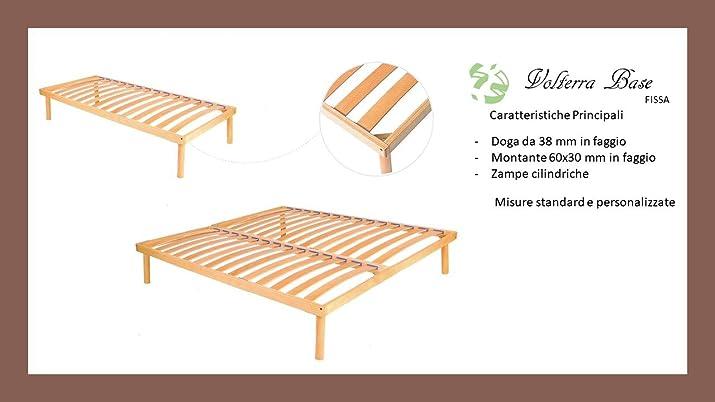 Rete Fissa in faggio per Letto 1 piazza e mezzo Anche su Misura Made in Italy, Modello: Volterra Base, Larghezza: 120