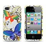 Apple iPhone 4 (AT&T/Verizon) White Rainbow Butterfly Premium Design Rubber Touch Hard Case + Bonus 5.5 inch Light Green Screen Cleaning Cloth