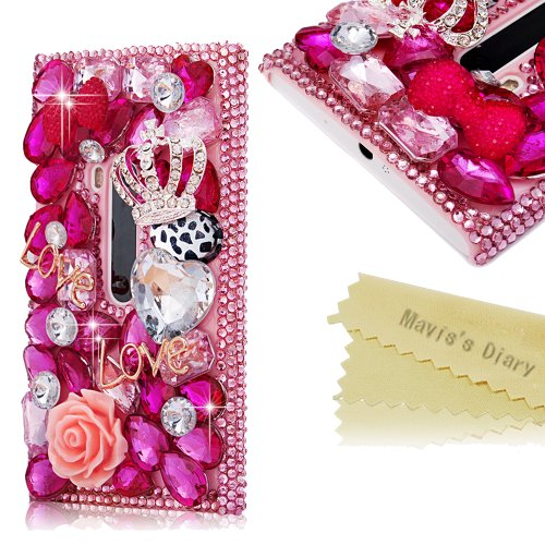Mavis'S Diary 3D Handmade Crystal Butterfly Crown Cross Love-Line Rhinestone Dimond Disign Case Pink Cover With Soft Clean Cloth (Nokia Lumia 920, Love)