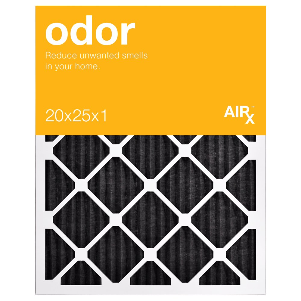 Best for Odor Control - AiRx ODOR 20x25x1 Air Filters - Box of 6 - Pleated 20x25X1 MERV 8 Carbon Air Filters, AC Filter, Furnace Filter, HVAC Filter - Energy Efficient and reduces household odors