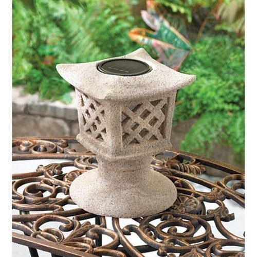 Gifts & Decor Solar Powered Ceramic Outdoor Pagoda Lamp