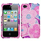 Colorful Flower Diamante Crystal Bling Protector Case for Apple iPhone 4 AT&T / Verizon