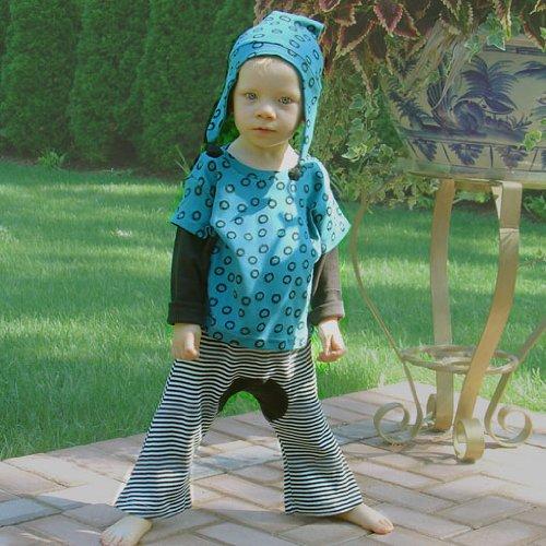 Sckoon Organic Cotton Baby Wa-Tee Wabi-Sabi Blue And Black Monkey Pants Set 0-6M front-905714