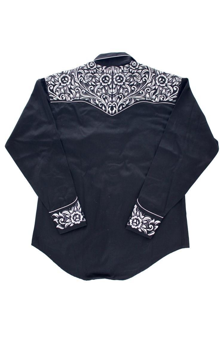 Rockmount Vintage Tooling Embroidery Western Shirt Black 6859-BLKSILVER 1