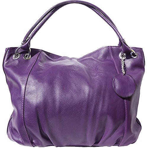 BORSA A SPALLA MEDIA IN PELLE DI VITELLO MORBIDO 3005 (Viola)