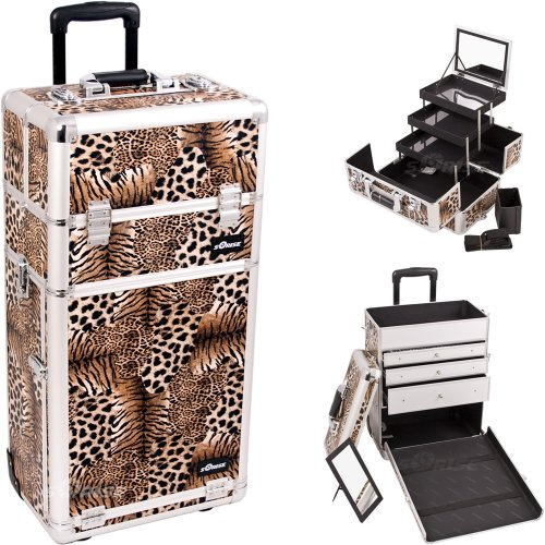 29.5 Inch 2 In 1 Leopard Print Rolling Trolley Makeup Organizer Train Case W/ Large Vanity Mirror front-956604