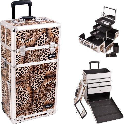 29.5 Inch 2 In 1 Leopard Print Rolling Trolley Makeup Organizer Train Case W/ Large Vanity Mirror
