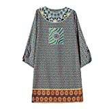 Tonsee-Womens-Vintage-34-Sleeves-Totem-Flower-Pattern-Printed-Dress