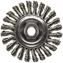 "Weiler Dualife Wire Wheel Brush, Threaded Hole, Stainless Steel 302, Full Twist Knotted, 4"" Diameter, 0.020"" Wire Diameter, 5/8-11"" Arbor, 7/8""  Bristle Length, 1/4"" Brush Face Width, 20000 rpm"