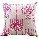 "Createforlife Cotton Linen Decorative Throw Pillow Case Cushion Cover Retro Tea Light Chandelier Prints Pink Square 18"""