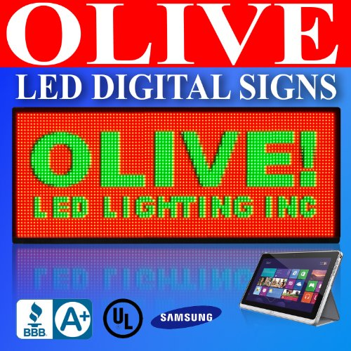 """Olive Led Signs 3 Color P20, 40"""" X 90"""" Programmable Scrolling Message Board - Industrial Grade Business Tools"""