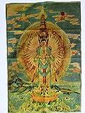 チベット 仏 教 シルク 織物 金糸 刺繍 タンカ (千手観音 90×60cm)