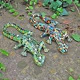 Paire de salamandres en mosaïque pour décorer le jardin