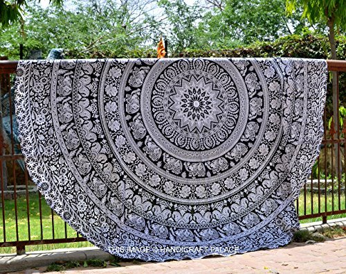 Elephant Mandala Round Beach Throw
