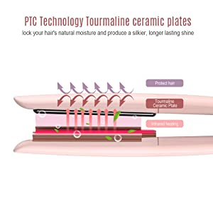 MiroPure Infrared Ceramic Flat Iron Hair Straightener for All Hair Types with Six Heat Settings  LED Display? Shut-Off Function for Straightening Hair and Adding Shine