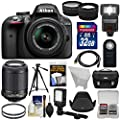 Nikon D3300 Digital SLR Camera & 18-55mm G VR DX II (Black) with 55-200mm VR II Lens + 32GB + Case + Tripod + Flash + LED Light + Tele/Wide Lens Kit