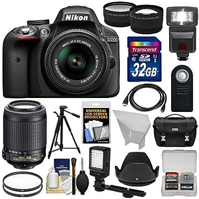 Nikon D3300 Digital SLR Camera & 18-55mm G VR DX II (Black) with 55-200mm VR II Lens + 32GB + Case + Tripod + Flash + LED Light + Tele/Wide Lens Kit