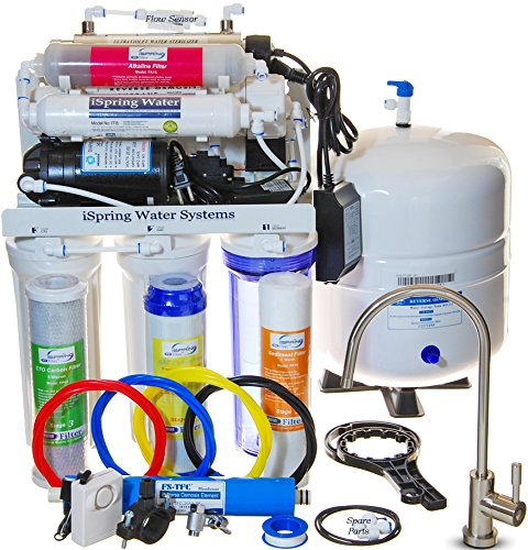 iSpring-RCC1UP-AK-WQA-GOLD-SEAL-Most-Comprehensive-7-Stage-100GPD-Reverse-Osmosis-Water-Filter-System-With-Real-not-Permeate-Booster-Pump-110v-220v-compatible-Alkaline-Minerals-and-11W-Flow-sensor-UV-