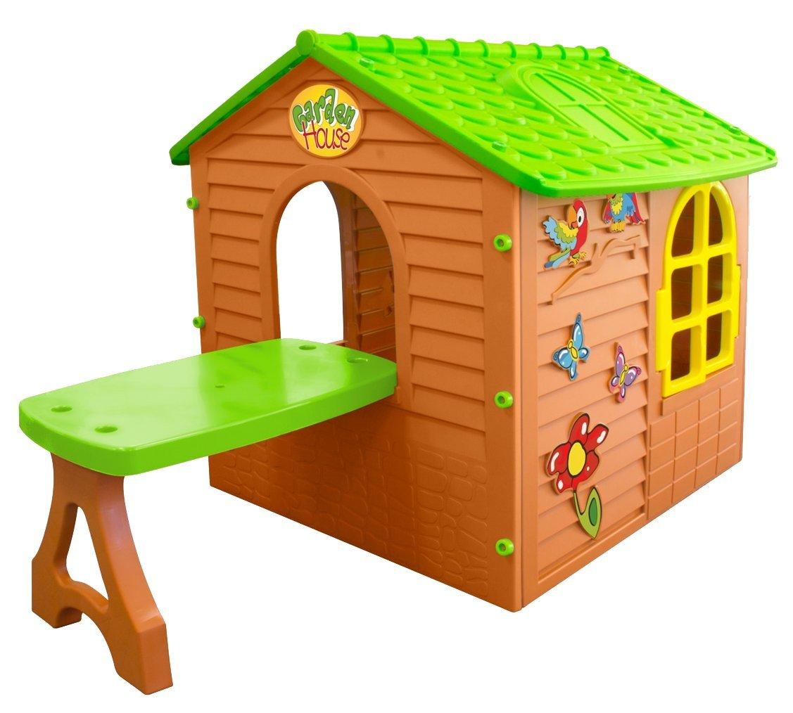 XXL großes SPIELHAUS Gartenhaus Kinderhaus Innen Außen mit Tisch 122x180x120cm
