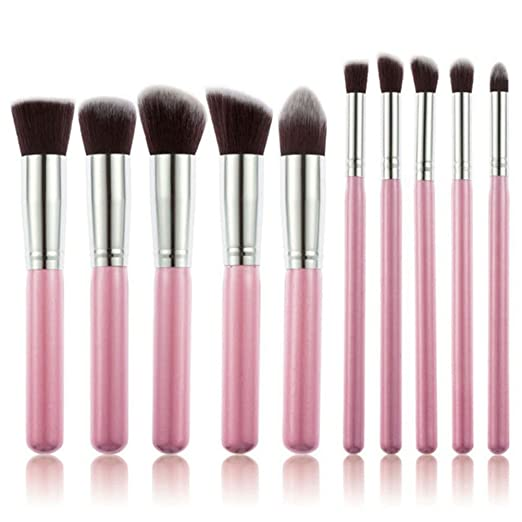 NUOLUX 10pcs Cosmetic Makeup Brushes Set (Pink)