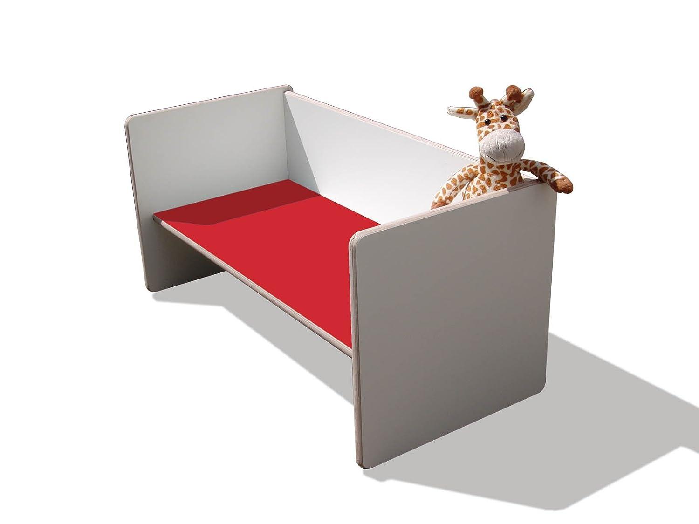 Kinder Wendetisch/Bank – weiß mit roter Sitzfläche, sehr stabil