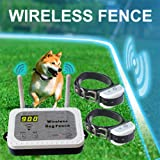 Wireless Dog Fence Electric Pet Containment System, Safe Effective Vibrate/Shock Dog Fence, Adjustable Control Range 900 Feet & Display Distance, Rechargeable Waterproof Collar (White, 2 Dog System) (Color: White)