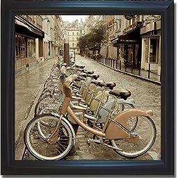 City Street Ride by Alan Blaustein Premium Satin-Black Framed Canvas (Ready-to-Hang)