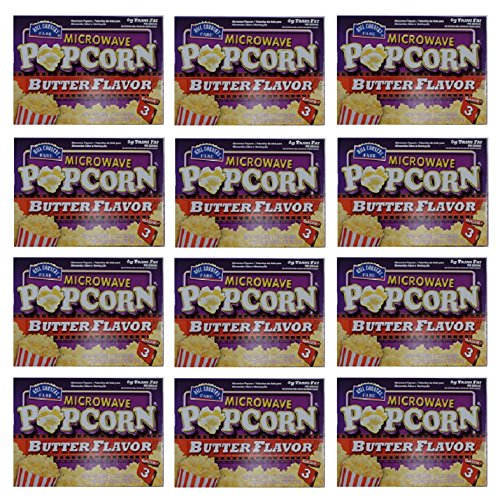 Hill Country Fare Microwave Popcorn Butter Flavor: 12 Packs Of 3 Bags ( Total Of 36 Bags) - Jvs
