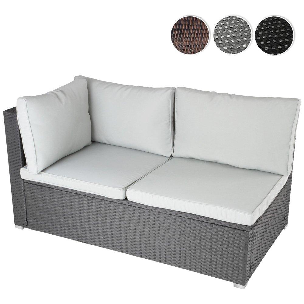 Ecksofa für bis zu 2 Personen aus Polyrattan Gartenmöbel inkl. Sitzkissen -Farbwahl- schwarz, grau oder braun jetzt kaufen