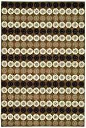 "3'9"" x 5'9"" Rectangular Oscar Isberian Rugs Area Rug Crocus Color Hand Hooked China ""Martha Stewart Collection"" Solar Garden Design"