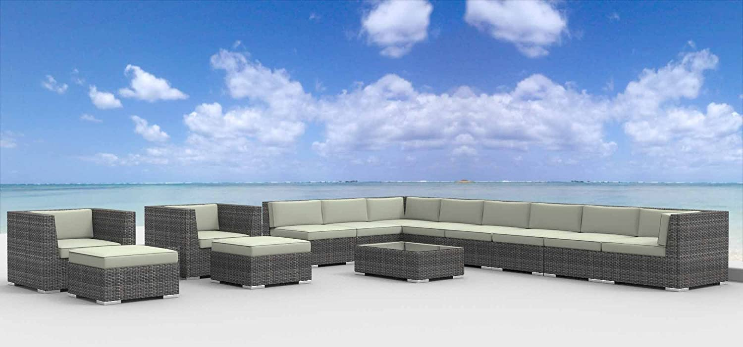 www.urbanfurnishing.net Urban Furnishing - NEWPORT 14pc Modern Outdoor Backyard Wicker Rattan Patio Furniture Sofa Sectional Couch Set - Beige at Sears.com
