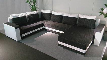 Canapé d'angle en U convertible et panoramique TINA noir et blanc en tissu et simili cuir