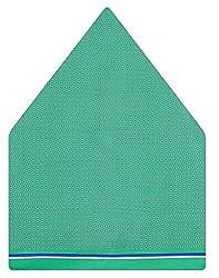Tiekart Self Design Silk Pocket Square (Ps454_Green)