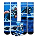 Carolina Panthers Youth Size NFL Rush Crew Kids Socks (4-8 YRS) 1 Pair - Luke Kuechly