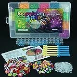Toy - 6000 Loopy Loom Webstuhl-B�nder stellten Box Gummi Armband Deutsch Merkblatt, mit 100 Charms, 100 Perlen