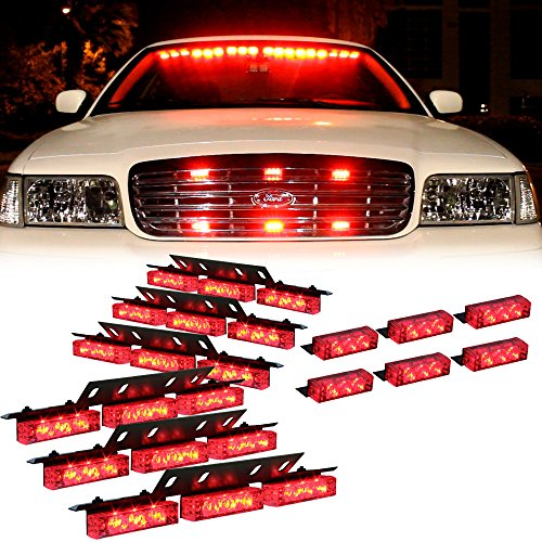 Red 54X Led Ems Emt Ambulance Emergency Vehicle Deck Dash Grille Strobe Lights - 1 Set