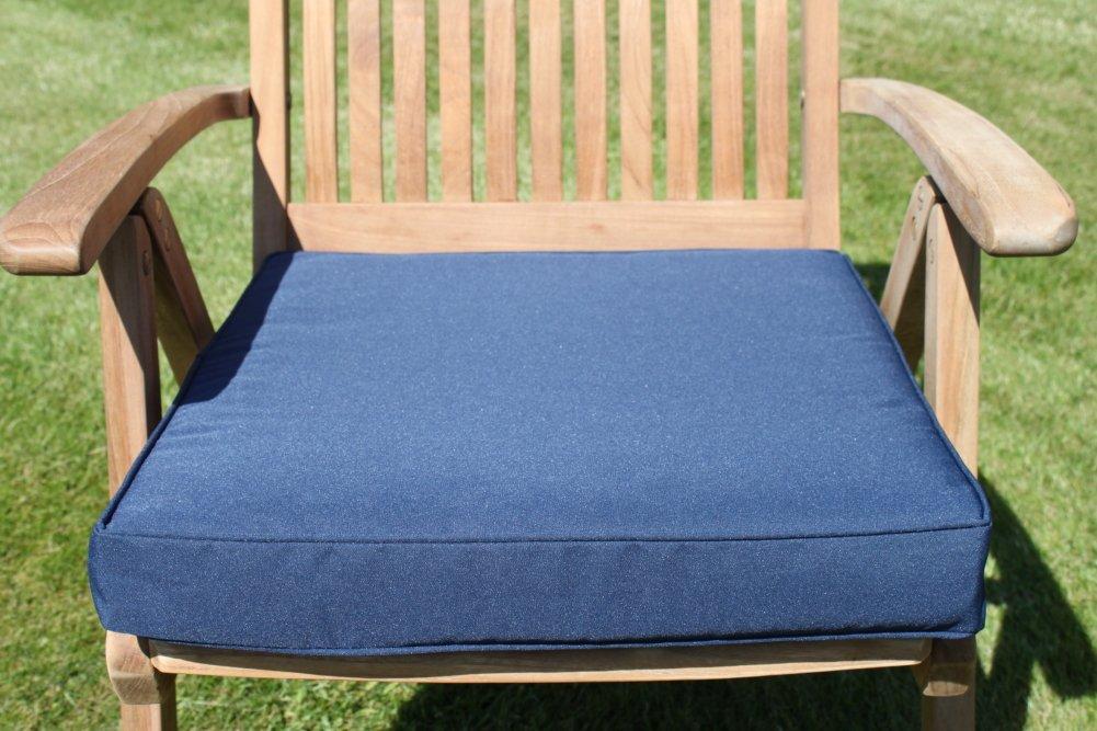 Gartenmöbel-Auflage – Sitzkissen für großen Gartenstuhl in Marineblau jetzt bestellen