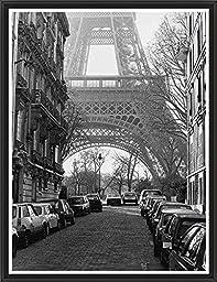 20in x 26in Street View of La Tour Eiffel by Clay Davidson - Black Floater Framed Canvas w/ BRUSHSTROKES