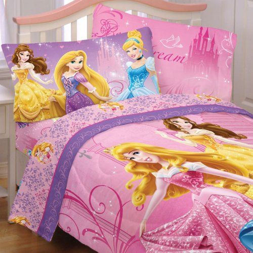 Cheapest Prices! Disney Princesses Full Bedding Set Glamour Comforter Sheets