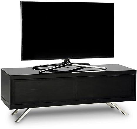 MDA Designs Tucana 1200Hybrid TV-Schrank, strahlendurchlässig/fernbedienungsfreundlich, freistehende TV-Halterung fur 66-139,7 cm (26-55 Zoll)Flachbildschirme, glänzend, schwarz/weiß