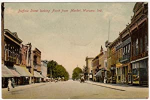 Buffalo Street, North from Market in Warsaw, Indiana, 1907