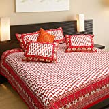 SNEHKRITI 100% Cotton Red Booti Printed Double Bedsheet with Two Pillow Covers