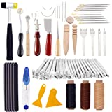 61Pcs Leather Craft Hand Tools Kit with Supplies Leather Working Tools Set with Leather Stamping Tools,Prong Punch,Leather Hammer,Waxed Thread and Leather Sewing Needles kit for Professional (Tamaño: 61 Pcs)