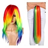 Mainlead Halloween My Little Pony Rainbow Dash Cosplay Wig+Ponytail (Color: Wig+Ponytail)