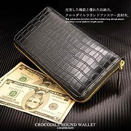[ジョンハリソン] J.HARRISON クロコ型押しラウンドウォレット かっこいい長財布